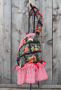 Heirloom Veggies and Gingham Vintage Inspired Apron