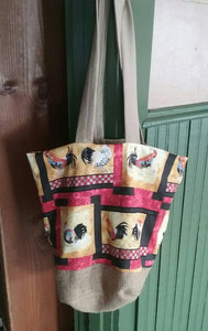 Tote Bag or Purse Made with Recycled Coffee Burlap Sack and Chicken/Rooster Themed Cotton Print