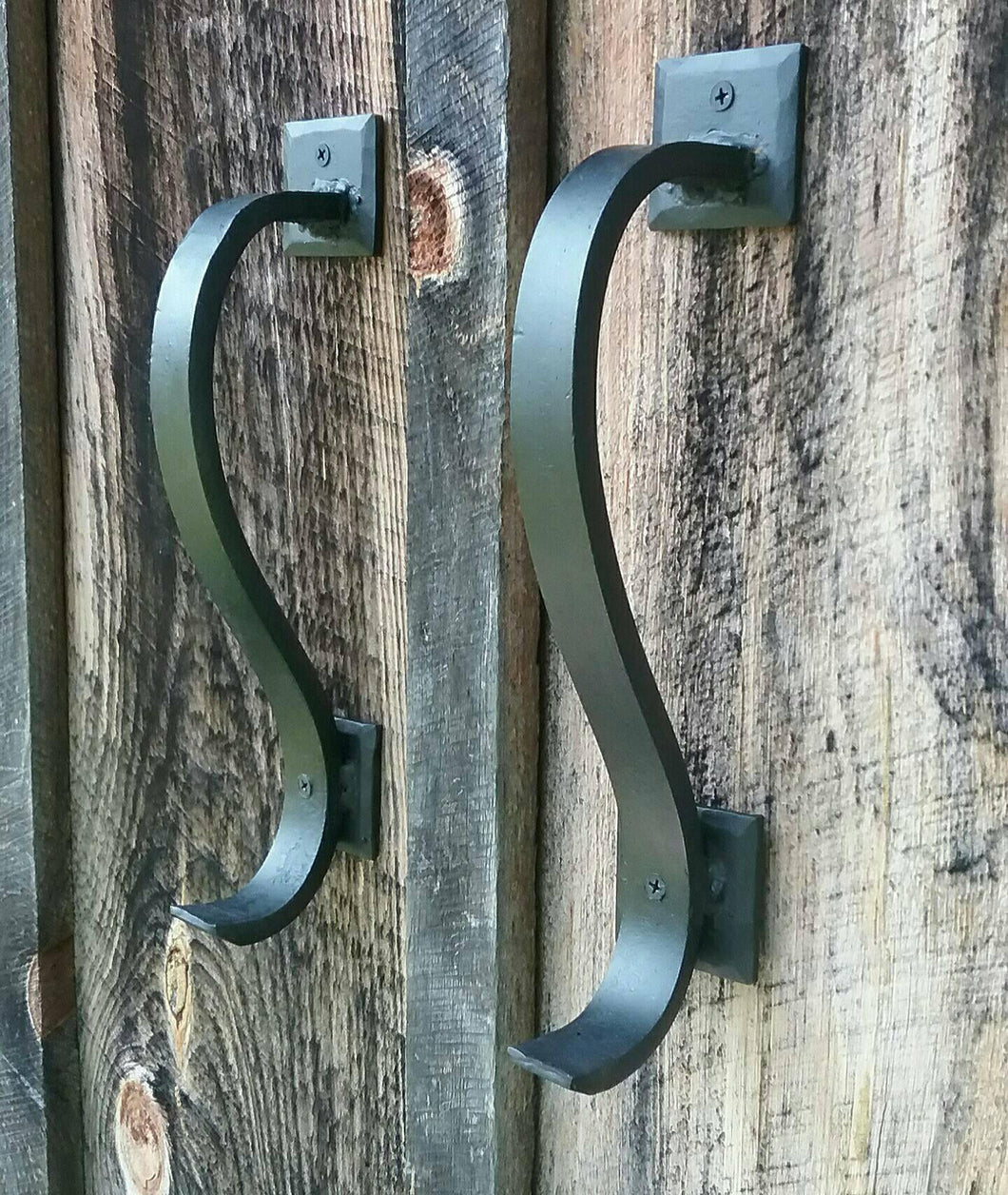 Set of 2 Gracefully Curved Hand Forged Door Pulls