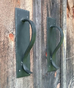 Large Gracefully Curved Blacksmith Made Door Pulls on Sturdy Backplate
