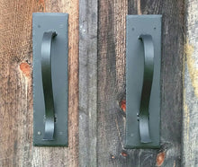 Load image into Gallery viewer, Large Gracefully Curved Blacksmith Made Door Pulls on Sturdy Backplate