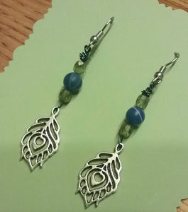 Cruelty-Free Beaded Peacock Feather Charm Earrings with Surgical Steel Ear Wire for sensitive ears