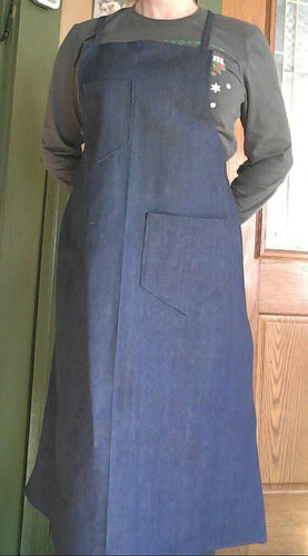 Craftsman's Heavy Duty Work Apron or Artist's Smock. 100% Denim. Unisex-for Him or Her! Made from a Vintage 1940's Retro Pattern.