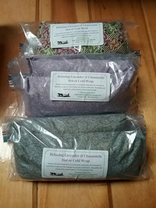Relaxing Lavender and Chammomile Scented Heating or Cooling Wrap, All-Natural Rice Bag. Reusable and Earth Friendly!