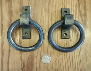 Set of 2 Round Ring Hand Forged Handles, Door Pulls, Door Knockers, Tie Downs