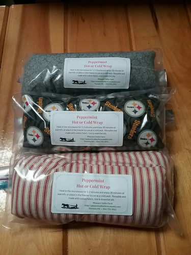 Energizing Peppermint Scented Heating or Cooling Wrap, All-Natural Rice Bag. Reusable and Earth Friendly. Great for sinuses!