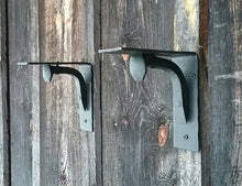 Load image into Gallery viewer, Set of 2 Hand Forged Blacksmith Made Wall Shelf Brackets Made with Real Railroad Spikes- heavy duty for books and more!