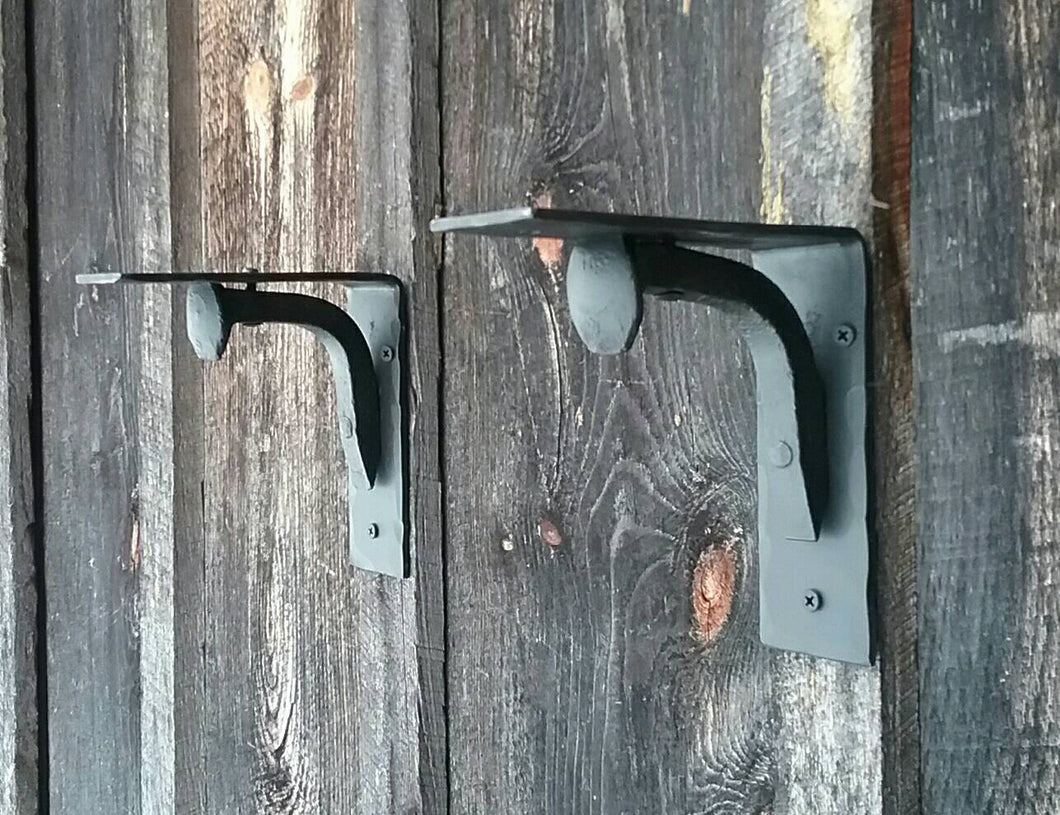 Set of 2 Hand Forged Blacksmith Made Wall Shelf Brackets Made with Real Railroad Spikes- heavy duty for books and more!