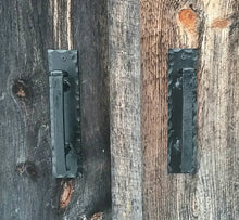 Load image into Gallery viewer, Hand Forged Railroad Spike Door Pulls on Sturdy Backplate