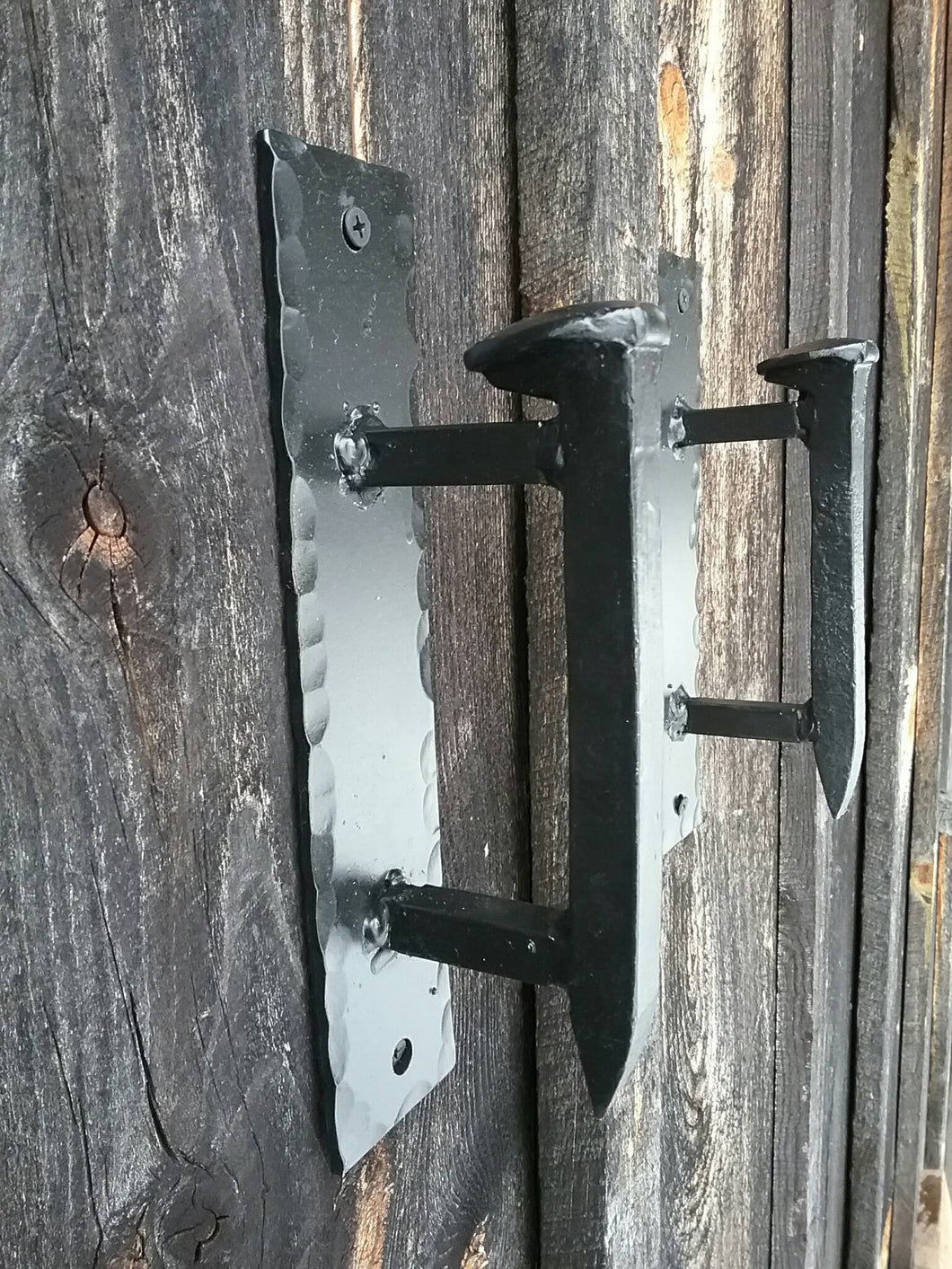 Hand Forged Railroad Spike Door Pulls on Sturdy Backplate