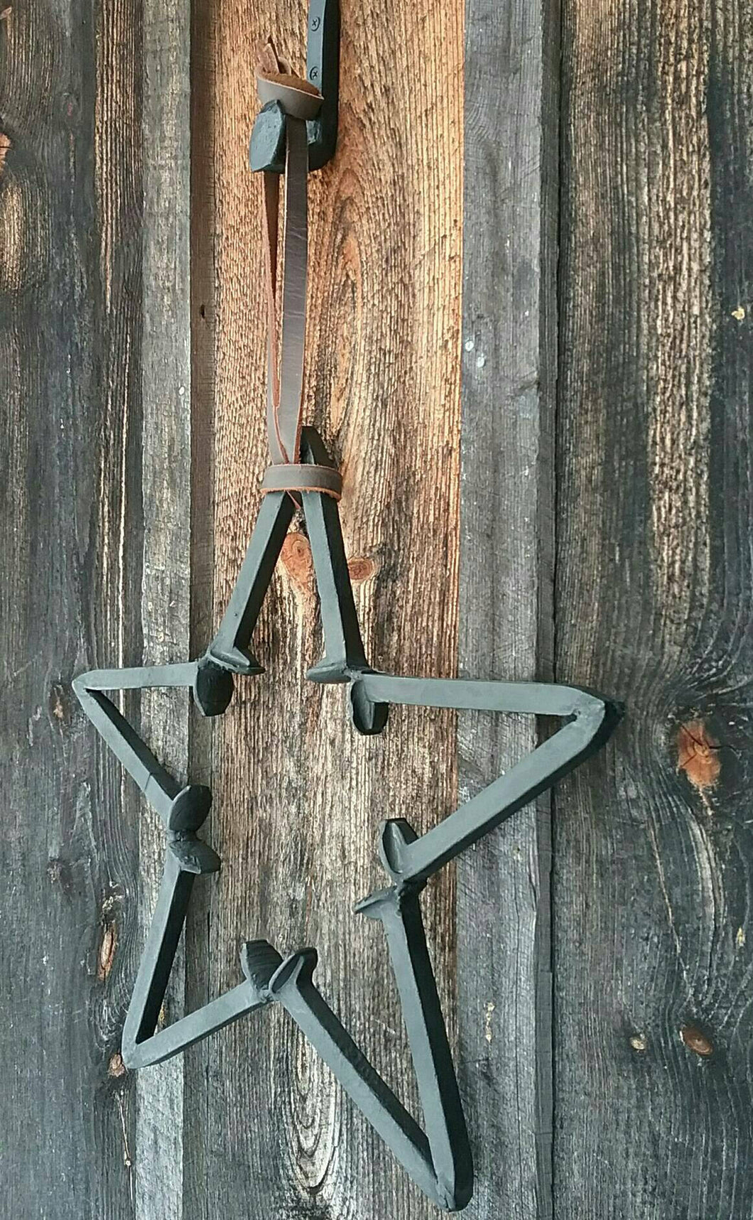 Rustic Repurposed Railroad Spike Barn Star. Three Piece Set Includes Railroad Spike Hook and Amish Harness Leather Strap