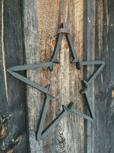 Load image into Gallery viewer, Rustic Repurposed Railroad Spike Barn Star. Three Piece Set Includes Railroad Spike Hook and Amish Harness Leather Strap