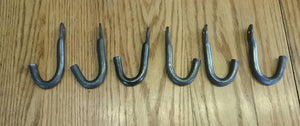 "Set of Six Hand Forged Hooks Made with 1/2"" Round Stock Steel . Vintage/Antique/Industrial Wrought Iron Look"