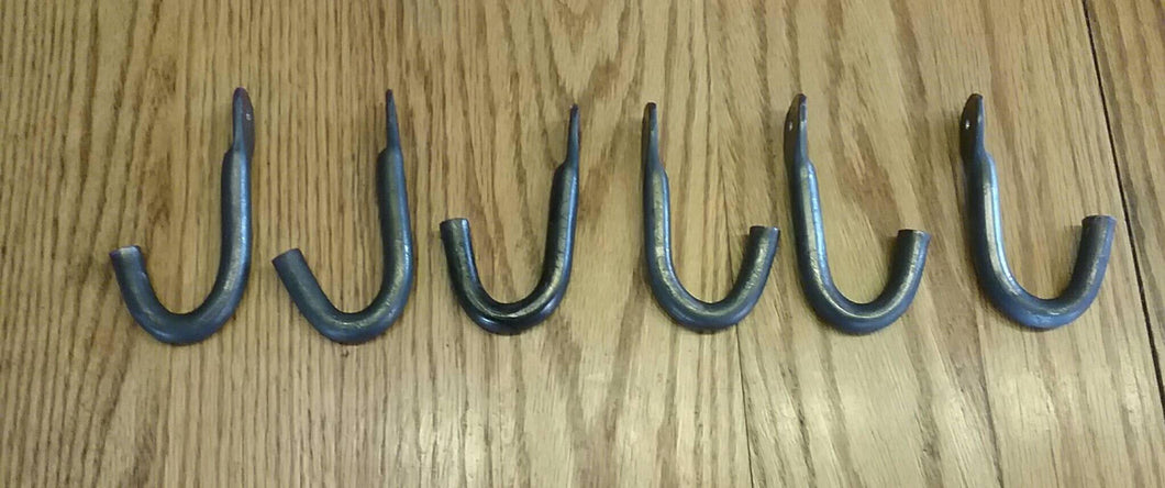 Set of Six Hand Forged Hooks Made with 1/2