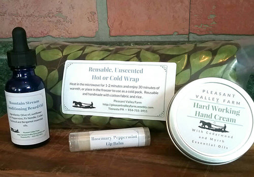 Pamper Him Relaxing Gift Set. Includes Beard Oil, Hand Cream, Lip Balm and Aromatherapy Heat Pack, All Made With Essential Oils!