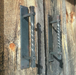 Large Twisted Hand Forged Door Pulls on Sturdy Backplate