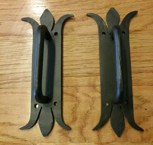 Set of 2 Hand Forged Door Pulls- great for shed, garage, trunk or toolbox- Vintage/Antique Wrought Iron Look