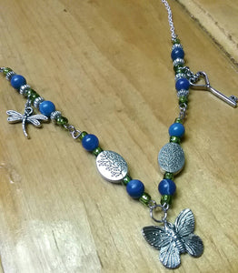 Beautiful Butterfly Beaded Necklace with Silver Plate Chain