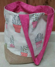 Load image into Gallery viewer, Hooray for Houseplants Tote Bag or Purse Made with Recycled Coffee Burlap Sack