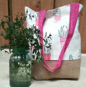 Hooray for Houseplants Tote Bag or Purse Made with Recycled Coffee Burlap Sack