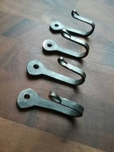 Load image into Gallery viewer, Set of 4 Sturdy Hand Forged Hooks made from Horseshoe Nails