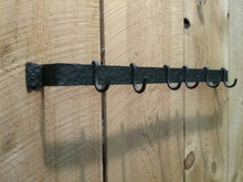 Load image into Gallery viewer, Hand Forged Wall Mounted Pot Rack with Hammered Finish