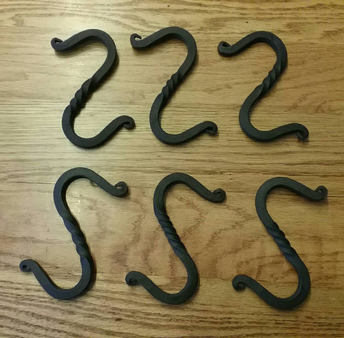 Set of Six Hand Forged S-Hooks with Twisted Middle and Scrolled Ends. Vintage/Antique Wrought Iron Look