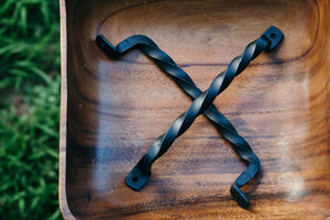 Set of 2 Twisted Hand Forged Handles