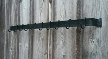 "Load image into Gallery viewer, Angeld view of 48"" hand forged hammer finish pot rack with 10 movable hooks.  Hooks are empty.  Wrought iron style made by a blacksmith.  Mounted on a barn wood wall."