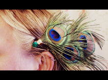 Load image into Gallery viewer, Cruelty-Free Peacock Feather Hair Clip
