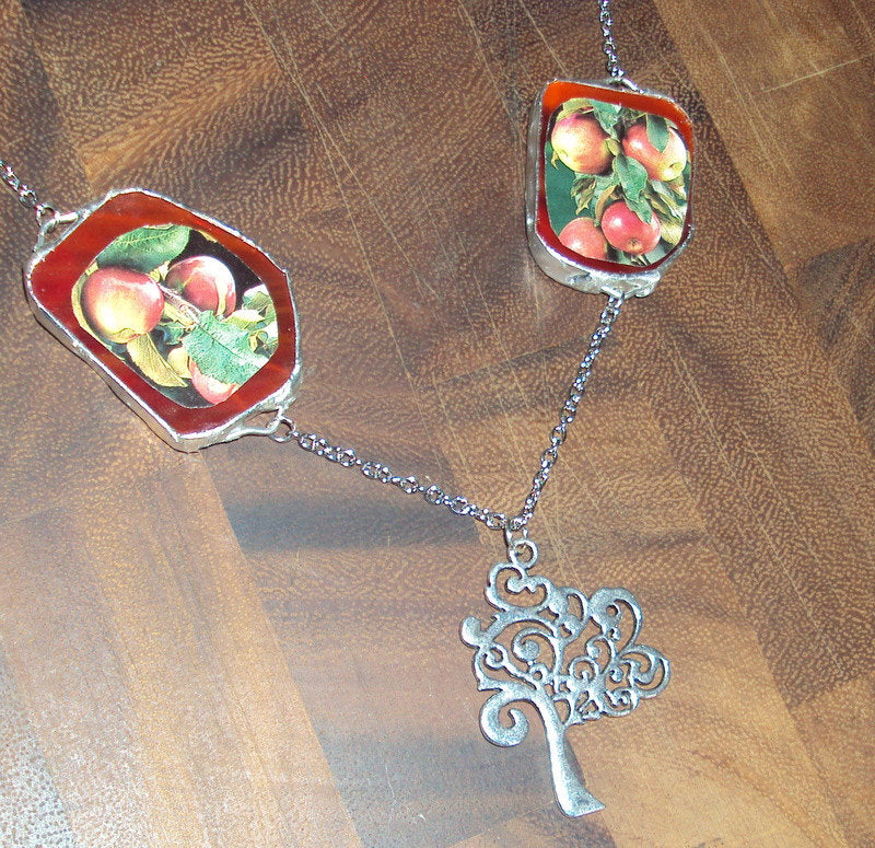 Wear Your Food Collection: Apple Tree Upcycled Seed Catalog Necklace- Great for Gardeners, Cooks and Foodies!