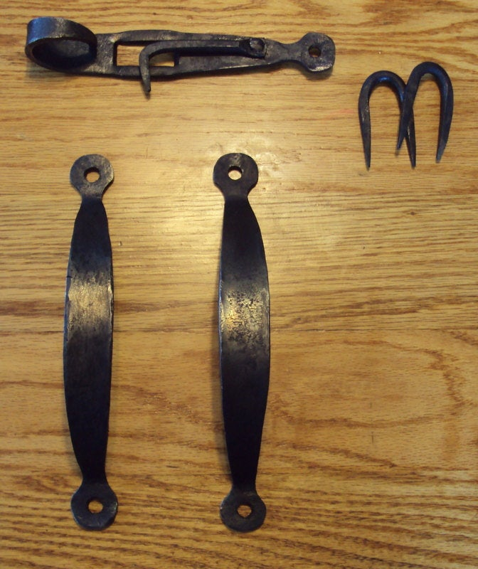 Set of 2 Hand Forged Handles and A Gate or Door Latch based on antique pattern! Wrought Iron style for an antique/vintage look!