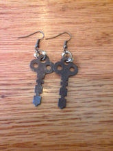 Load image into Gallery viewer, Vintage Key Beaded Dangle Earrings