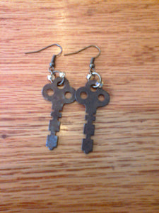 Vintage Key Beaded Dangle Earrings