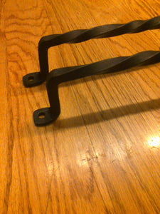 Set of 2 Twisted Hand Forged Handles or Door Pulls- Blacksmith Made Wrought Iron