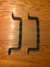 Load image into Gallery viewer, Set of 2 Twisted Hand Forged Handles or Door Pulls- Blacksmith Made Wrought Iron