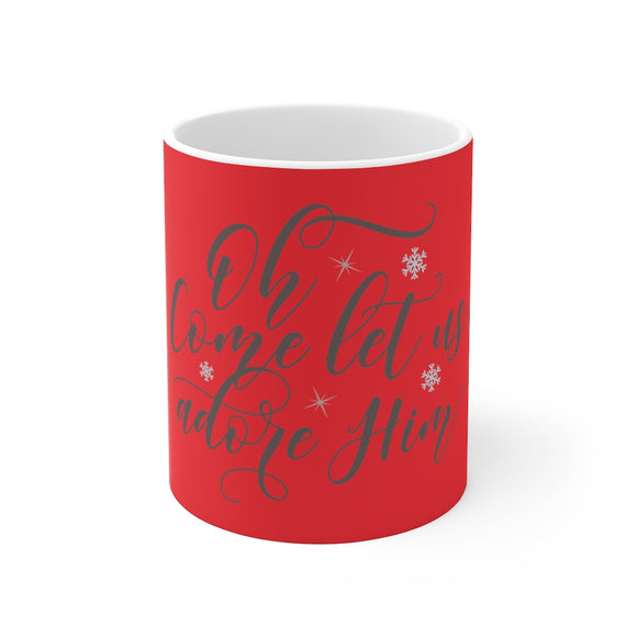 White Ceramic Mug-Come Let Us Adore Him