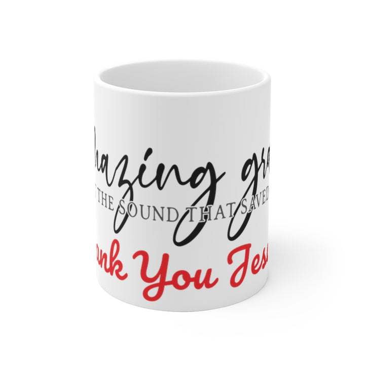 White Ceramic Mug-Amazing Grace