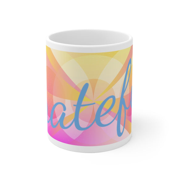 White Ceramic Mug- Grateful