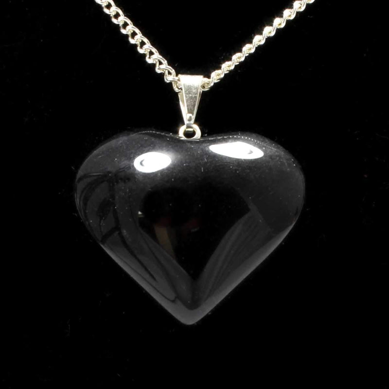 Black Obsidian Heart Pendant with Chain