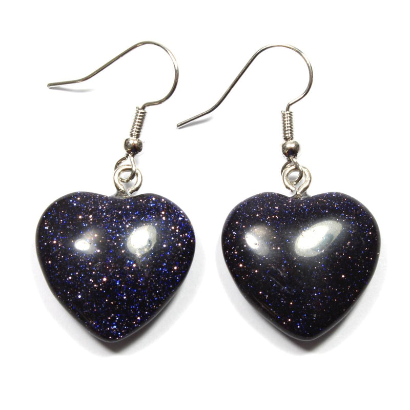 Blue Goldstone Heart Earrings