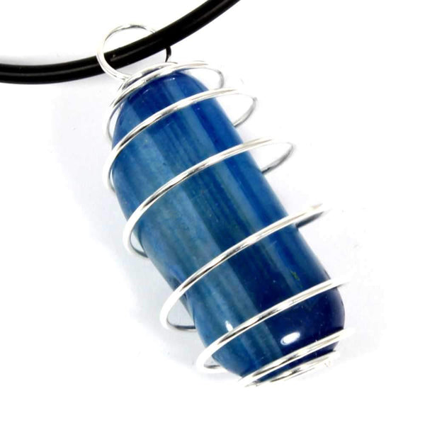 Blue Agate Wire Wrapped Necklace