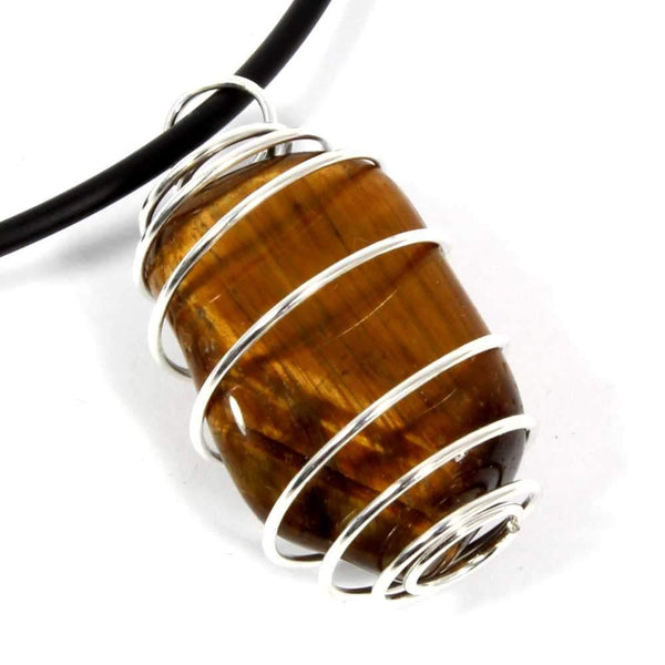Gold Tigers Eye Wire Wrapped Necklace