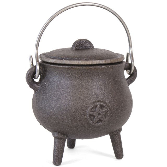 Cast Iron Cauldron with Pentagram/Triple Moon (Smaller Size)