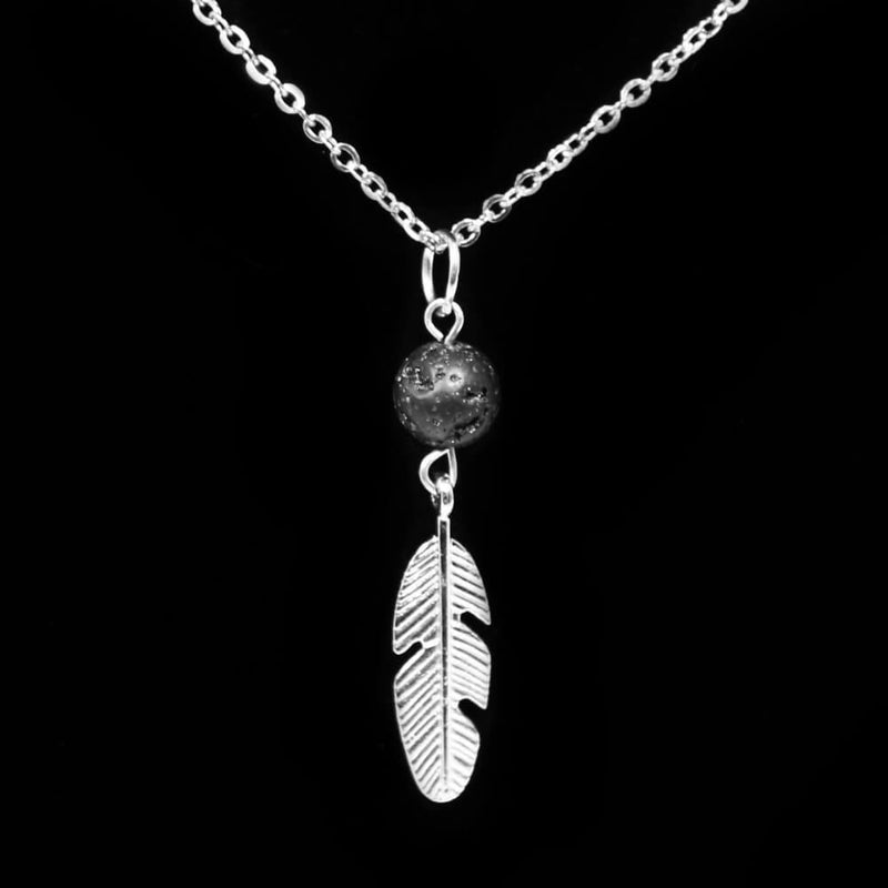 Lava Stone Diffuser Necklace & Feather - Silver Plated