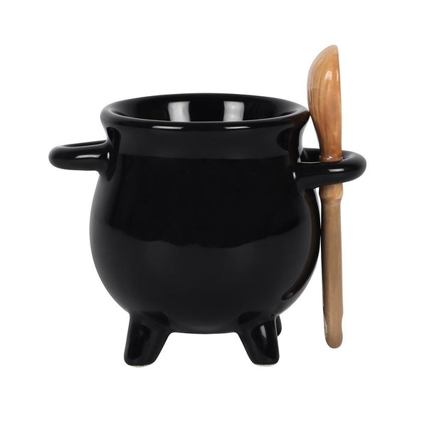 Cauldron Eggcup with Broom Spoon