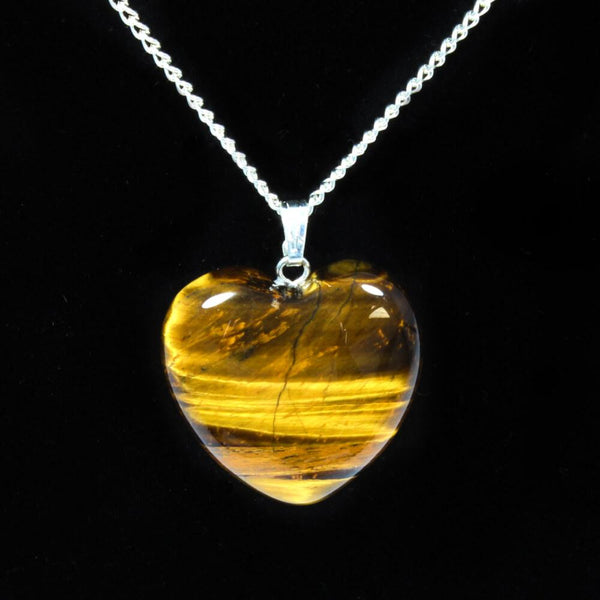 Gold Tigers Eye Heart Pendant With Chain