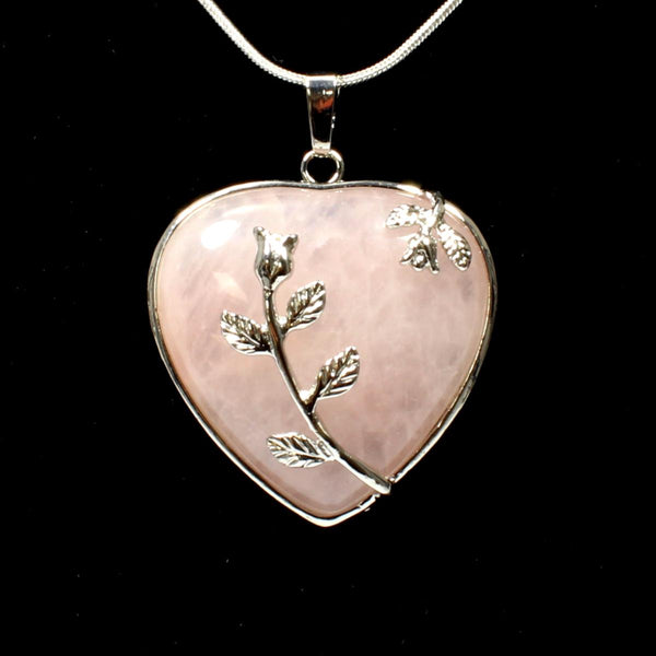Rose Quartz Heart & Leaf Design Pendant With Chain