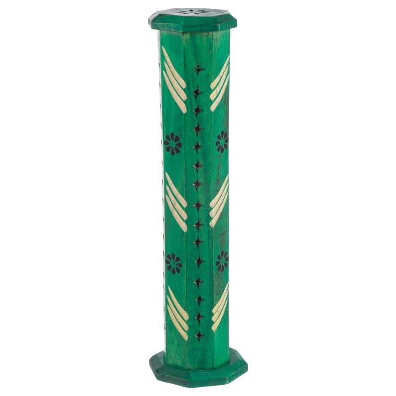 Mango Wood Incense Burner Tower with Flower Fretwork (Green)