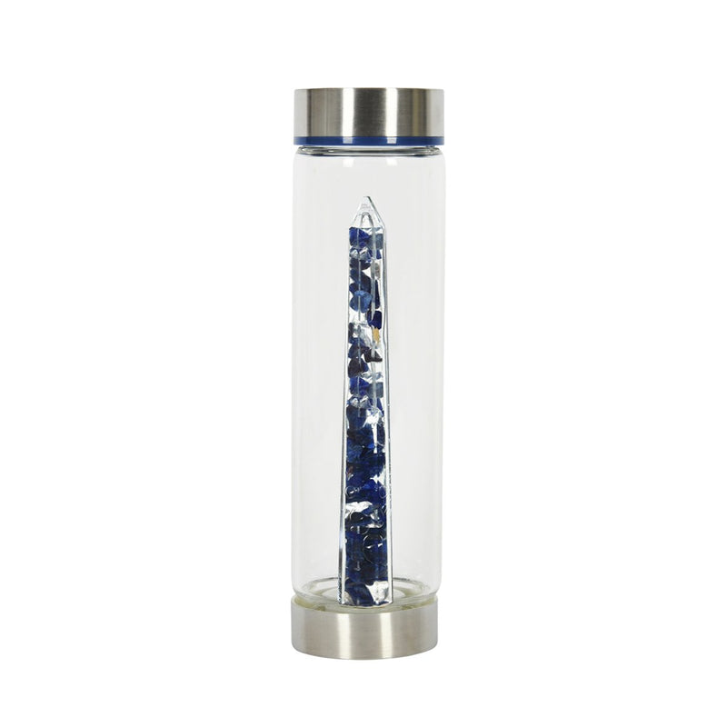 Bewater Awareness Glass Bottle - Sodalite and Rock Crystal